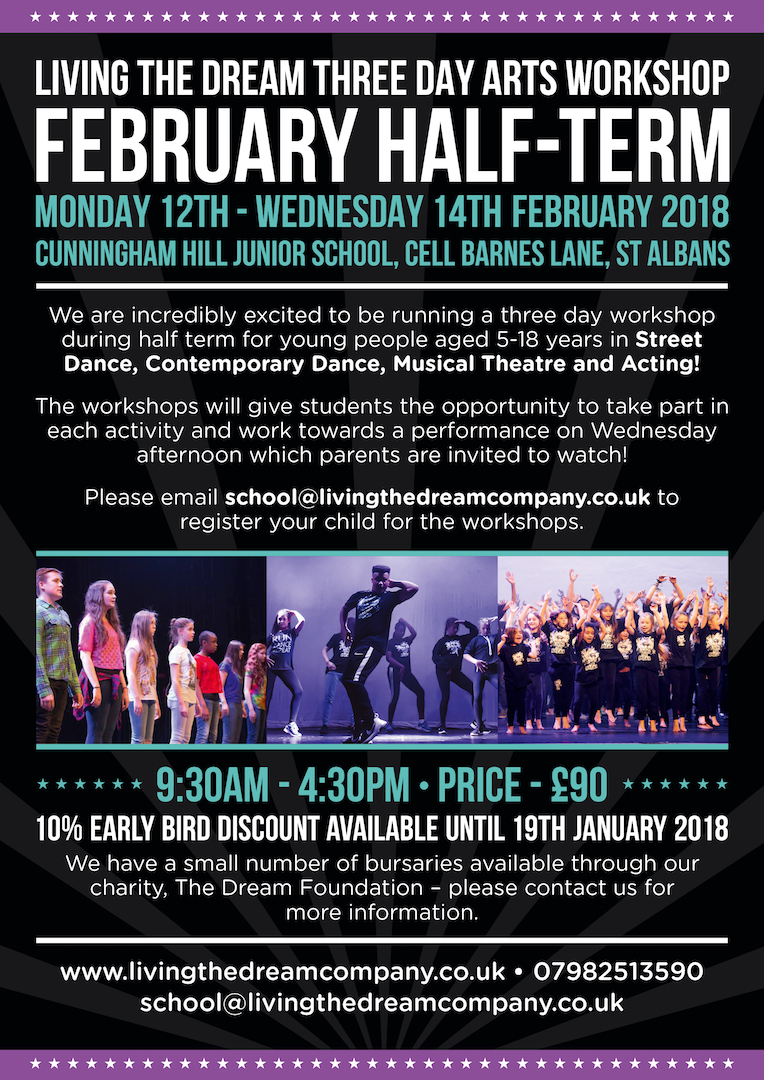Living the Dream February Half Term Workshops 2018